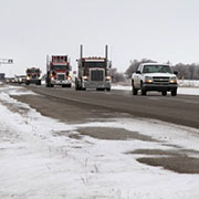 Trucks & people take part in the Virden to Brandon Truck Convoy on Saturday, January 5, 2019