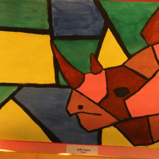 """McNaughton High School hosted an art show featuring the artwork of Grade 10, 11 and 12 students on Thursday, January 18, 2018. """"Rhino"""" by Aydlle Visperas."""