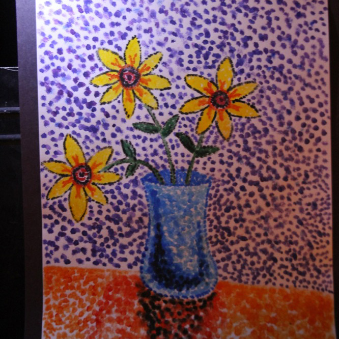 """McNaughton High School hosted an art show featuring the artwork of Grade 10, 11 and 12 students on Thursday, January 18, 2018. """"Sunflowers"""" by Kamryn Green."""