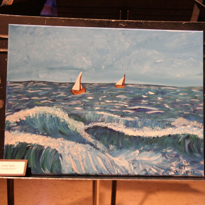 """McNaughton High School hosted an art show featuring the artwork of Grade 10, 11 and 12 students on Thursday, January 18, 2018. """"Crashing Waves"""" by Emily Taylor."""