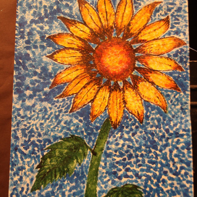 """McNaughton High School hosted an art show featuring the artwork of Grade 10, 11 and 12 students on Thursday, January 18, 2018. """"Sunflower"""" by Brooklynn Davidson."""