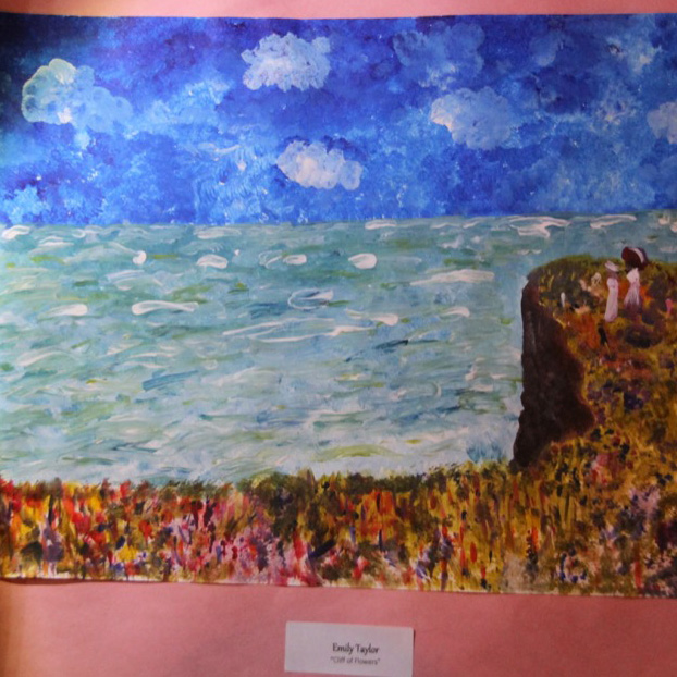 """McNaughton High School hosted an art show featuring the artwork of Grade 10, 11 and 12 students on Thursday, January 18, 2018. """"Cliff of Flowers"""" by Emily Taylor."""