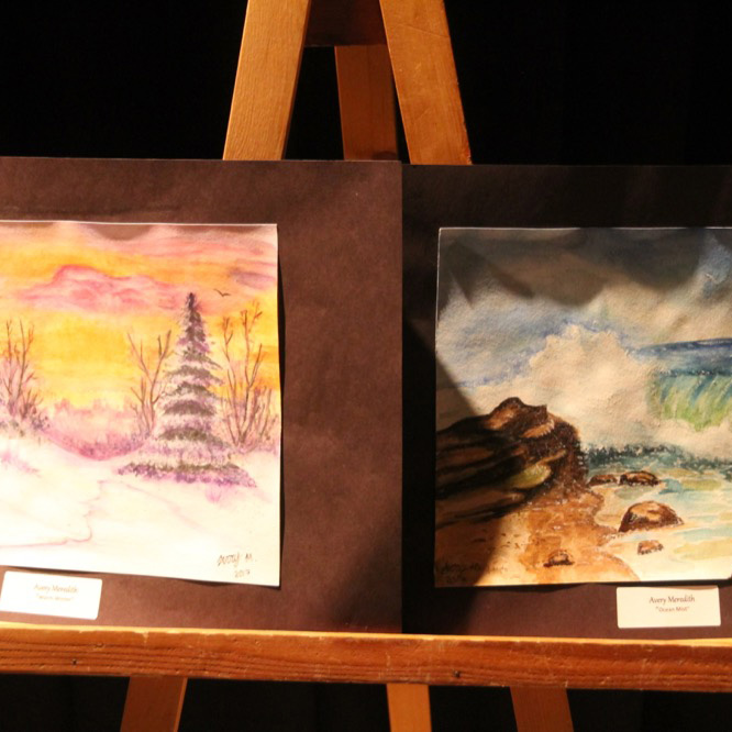 "McNaughton High School hosted an art show featuring the artwork of Grade 10, 11 and 12 students on Thursday, January 18, 2018. ""Warm Weather"" and ""Ocean Mist"" by Avery Meredith"