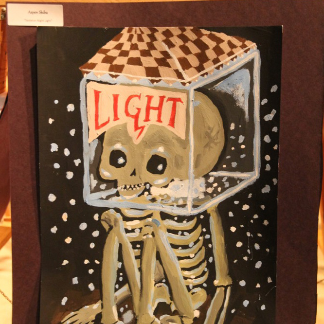 """McNaughton High School hosted an art show featuring the artwork of Grade 10, 11 and 12 students on Thursday, January 18, 2018. """"Skeleton Night Light"""" by Aspen Skiba."""