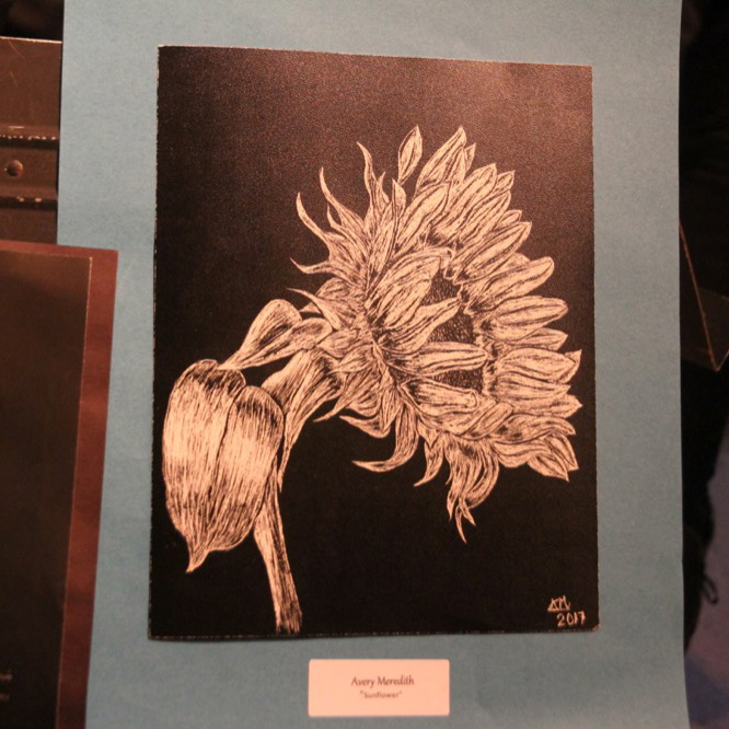 "McNaughton High School hosted an art show featuring the artwork of Grade 10, 11 and 12 students on Thursday, January 18, 2018. ""Sunflower"" by Avery Meredith."