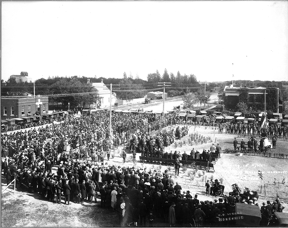 About three thousand people, including two Victoria Cross winners, attended the unveiling of the Moosomin Cenotaph on August 31, 1924.