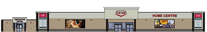 The front elevation of the new Borderland Co-op Home Centre planned for Moosomin. Construction on the $6 million project is expected to start this spring or summer and will take about a year. Construction of the new home centre will require the closure of one block of Carleton Street. To provide a sense of scale, the front of the building, shown here, will be 190 feet wide.