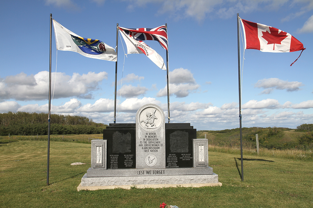 The war memorial at Kahkewistahaw. The community has a strong military tradition. Chief Taypotat served with the Canadian military, serving with Princess Patricia's Canadian Light Infantry in Afghanistan. He left the military to come home to serve as school principal before being elected chief.