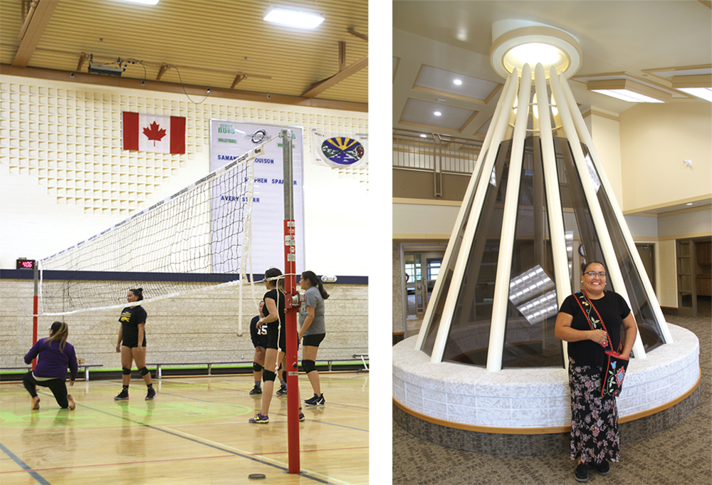 Kahkewistahaw youth practising volleyball in the school gym, and Principal Faith McNab in the new high school addition to Kahkewistahaw School. The First Nation plans to break ground on a new Governance Centre in the spring.