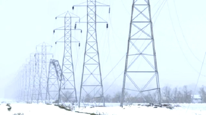 A Manitoba Hydro transmission line damaged in the winter storm on the Thanksgiving weekend