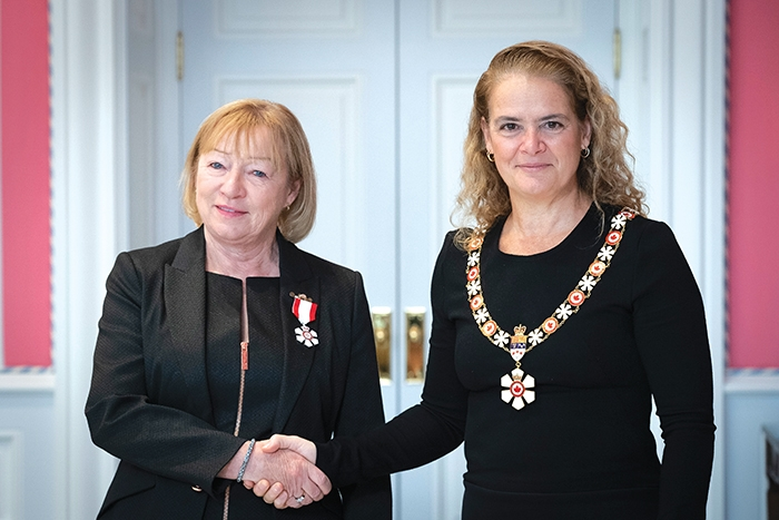 Shelley Brown receiving the Order of Canada on Nov. 21 from Julie Payette, the Governor General of Canada.