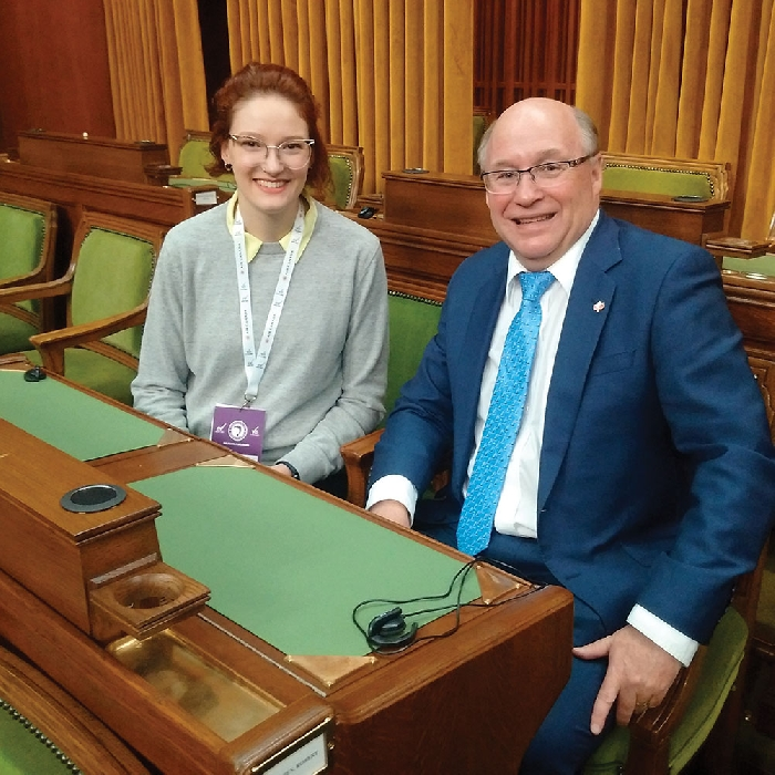 Souris-Moose Mountain Daughters of the Vote delegate Brit Sippola, who grew up outside of Whitewood, and Souris-Moose Mountain MP Dr. Robert Kitchen in the House of Commons last week.