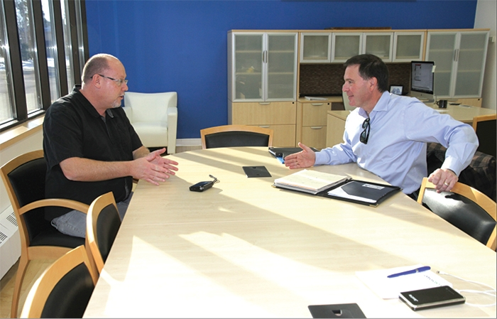 World-Spectator editor Kevin Weedmark interviews Sask Party leadership candidate Gord Wyant at the World-Spectator office.