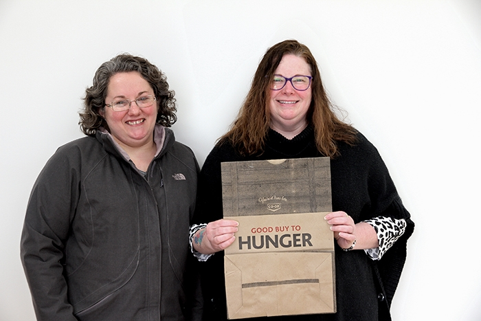 "Rolna Pranke and Darcy Baczuk of Caring Communities are preparing for the second annual ""Good Buy to Hunger"" campaign to help needy families in the community at Easter."