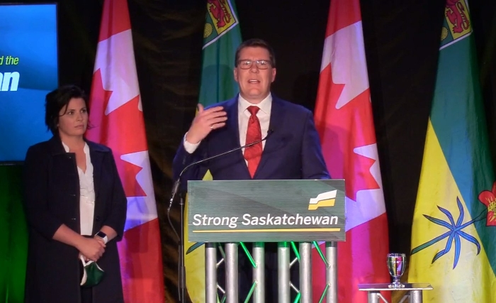 Saskatchewan Party Leader and Premier-elect Scott Moe spoke to a largely empty room, despite a massive win.