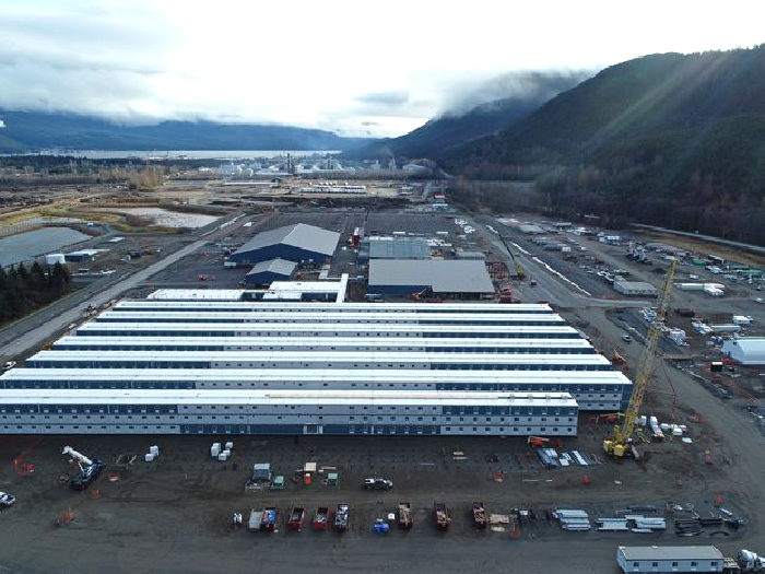 ATCO and Bird Construction are building a work camp at Kitimat for workers on an LNG export terminal.
