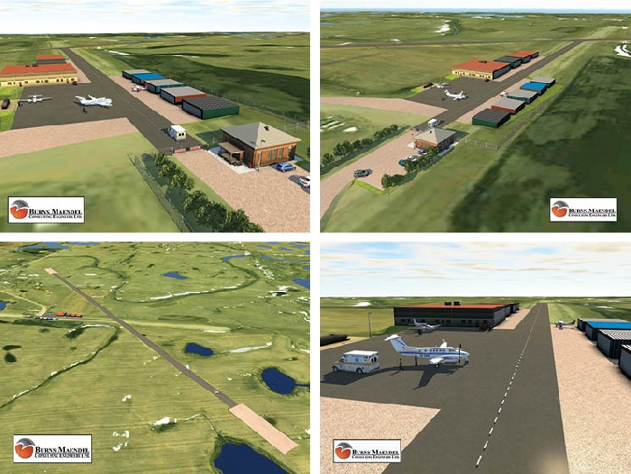 These renderings by Burns Maendel Consulting Engineers show the proposed expansion of Moosomin's airport. The new runway would run northwest-southeast in line with the prevailing winds. A new access road, taxiway, and apron would be built on the road allowance that the current runway is built on.