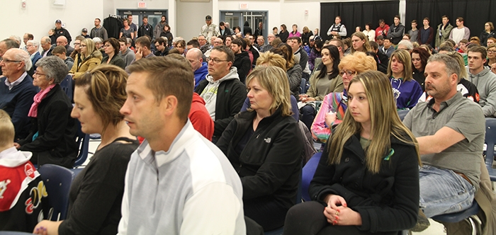 Hundreds of people came out for a vigil for the Humboldt Broncos, held Sunday, April 8 in Moosomin at the MCC Centre. There were candles, prayers and poems to show support and pay respects to the lost or injured players, their families, and the community of Humboldt.