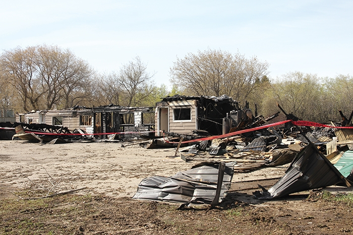 The remains of the Prairie Pride Motel after it was destroyed by fire in the early morning hours on Sunday, May 12.