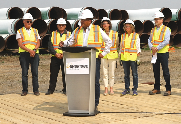 Chief Evan Taypotat of the Kahkewistahaw First Nation speaks to media at the kickoff to construction of the Enbridge Line 3 Replacement project in Saskatchewan for 2018 recently. With a recent dispute with Saudi Arabia, which supplies 10 per cent of Canadian oil imports, talk of another pipeline, Energy East, is being revived.