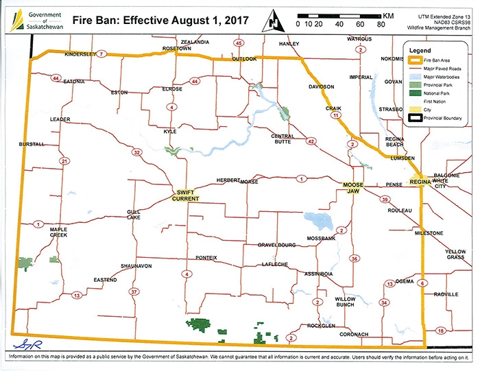 Due to extreme wildfire hazards, the Ministry of Environment, in consultation with the Ministry of Parks, Culture and Sport, has issued a ban on all open fires for provincial Crown land and for provincial parks and recreation sites in southwest Saskatchewan.