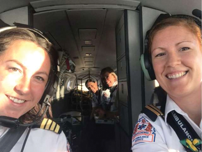 Carly St Onge (left) Tammie Kulyk, Jen Rondeau and Crystal Lybeck (very back) fly the first all-female crew Saskatchewan Air Ambulance flight Friday.