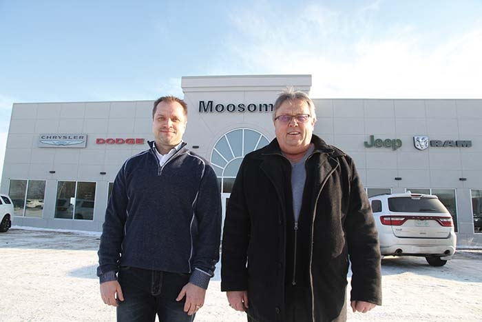 Manager Cody Bruvold and owner Ron Kaban at Moosomin Dodge.