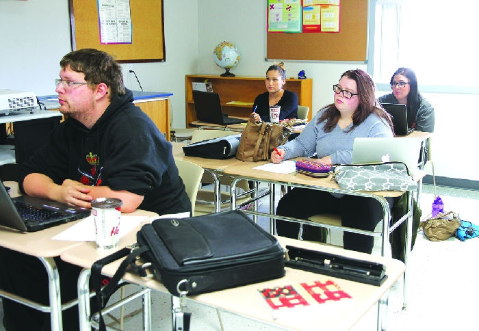 Students taking university classes at Southeast College in Moosomin