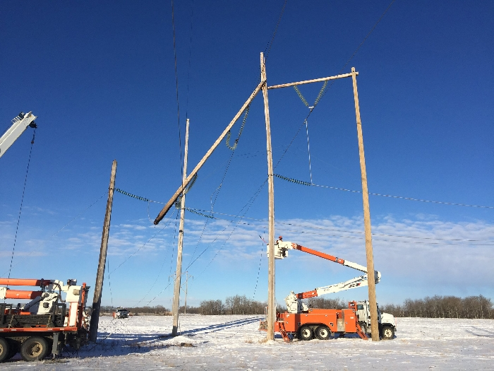 Fire damage to a transmission line caused a widespread power outage in southeast Saskatchewan.