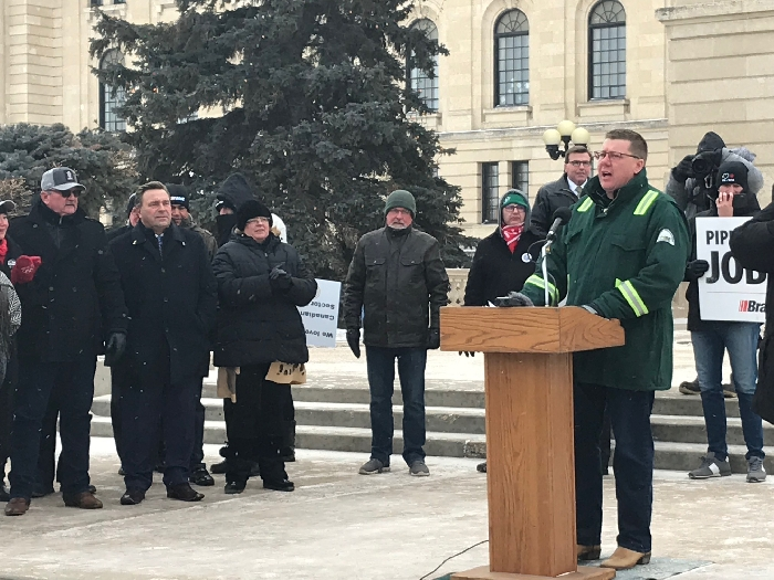 Premier Scott Moe speaks at the Rally for Resources in Regina Tuesday. Photo by Sinc Harrison