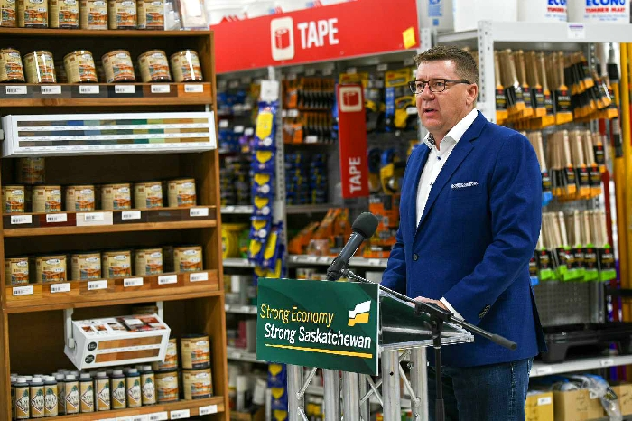 Scott Moe made an announcement on the reduction of the provincial small business tax at Econo Lumber in Prince Albert on October 3. An employee at the store later tested positive for Covid-19.