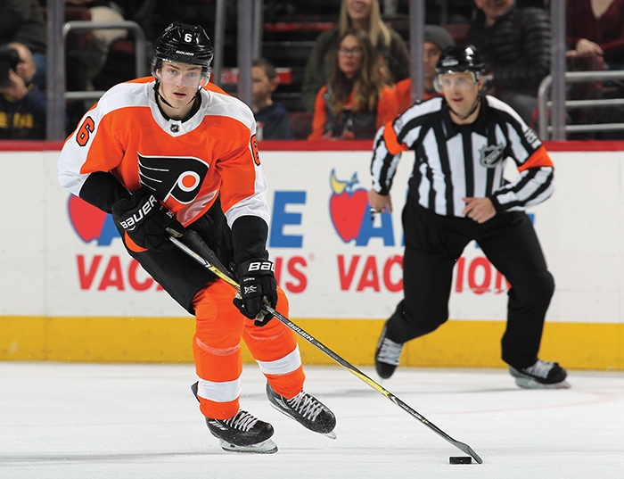 Travis Sanheim in action with the Philadelphia Flyers.