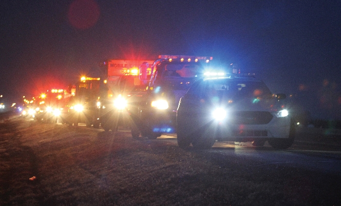 Emergency responders took part in a demonstration to draw attention to roadside responder safety in Moosomin in March.