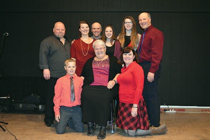 The Kelly family. In back from left: Brian, Jessica, Blake, Megan, Vivian and Anthony. In front: Kaleb, Delta, and Marie.