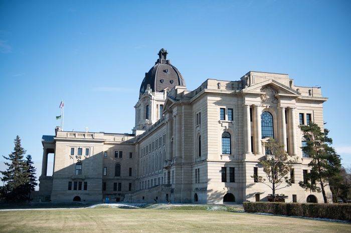 The Saskatchewan Legislature, as seen on election day, awaits its new members.