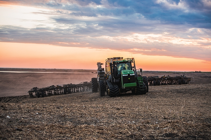 Kristjan Hebert seeding at Hebert Grain Ventures near Fairlight on Thursday. This photo was submitted by Olga McCarthy as part of the World-Spectator's spring seeding photo contest.