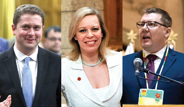 Federal Opposition Leader Andrew Scheer, Senator Denise Batters and Saskatchewan Premier Scott Moe