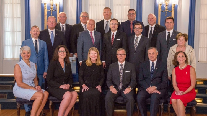 Moosomin MLA Steven Bonk is standing at right in this photo of the new Saskatchewan cabinet taken Wednesday morning at Government House
