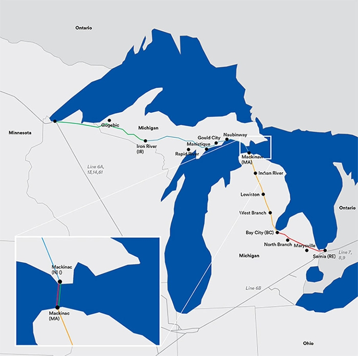 Enbridge's Line 5 crosses the straits connecting Lake Michigan and Lake Huron.