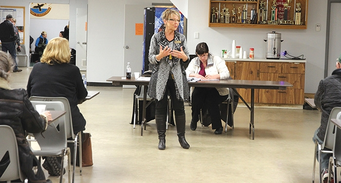 Colleen Christopherson, a municipal advisor with the Ministry of Government Relations, speaking at the public meeting in Welwyn Wednesday.