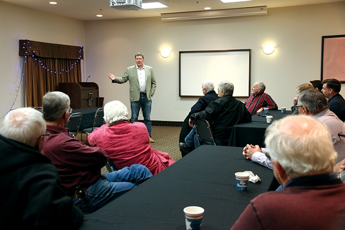 Sask Party leadership candidate Scott Moe spoke to party supporters in Moosomin Monday.
