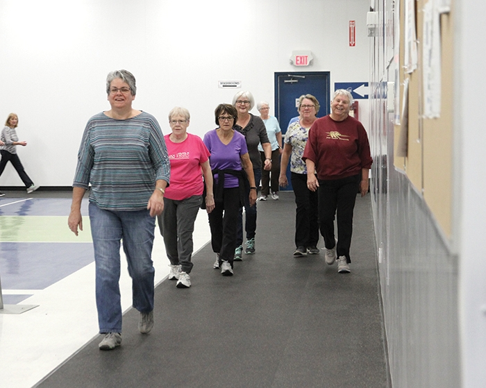 The walking track at Moosomin's PotashCorp Sportsplex is well used, with many walkers doing laps on the track every day. Catherine Jaenen of the town's recreation department has come up with challenges to keep walkers motivated—their laps are recorded and their progress along the Trans-Canada Highway is tracked.