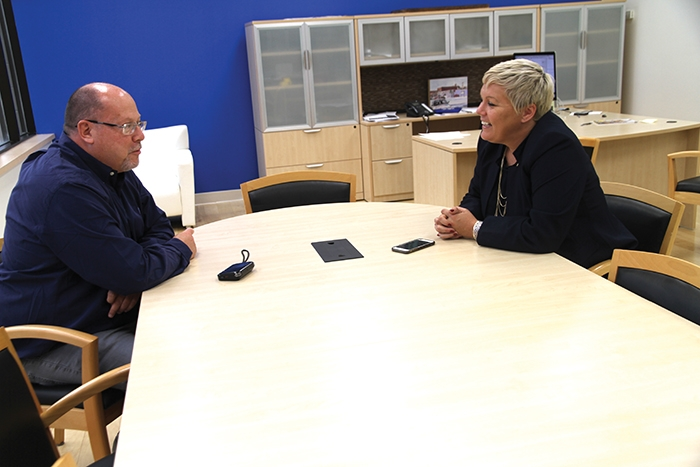 World-Spectator editor Kevin Weedmark interviews Sask Party leadership candidate Tina Beaudry-Mellor at the World-Spectator office in Moosomin on Thursday.