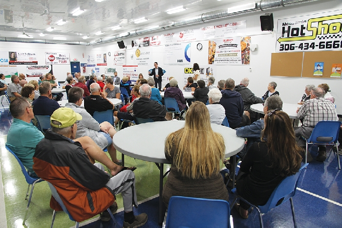 About 70 people attended a noon hour public meeting Tuesday on an enhanced seniors housing proposal for Moosomin. It was one of four meetings Tuesday.