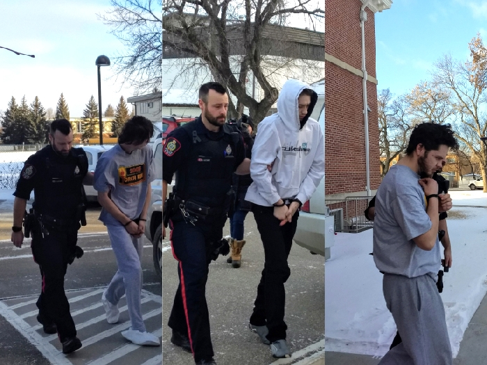 From left, Dominick Hawkes, Keegan Muxlow and William McLeod appeared in Weyburn provincial court Tuesday in connection to a home invasion on Friday.