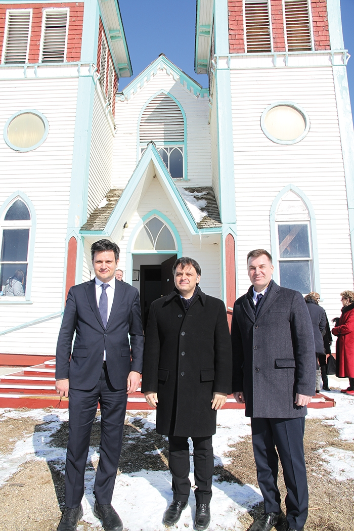 Ambassador Bálint Ódor, Hungarian Secretary of State Csaba Latorcai, and Moosomin MLA Steven Bonk at Bekevar Church March 10.