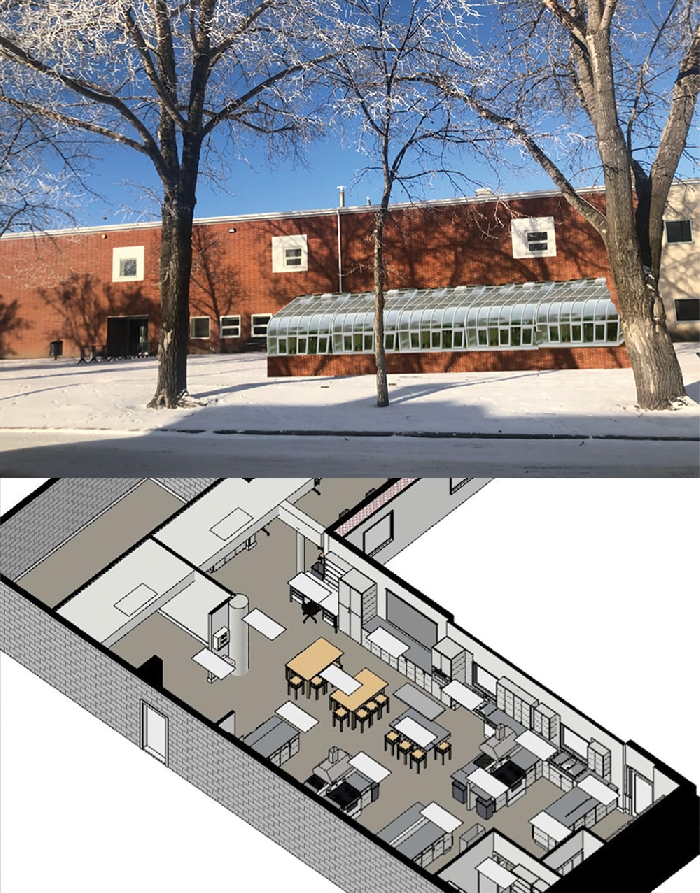 An area showing a new home ec space in the current library space on the west side of McNaughton High, and a rendering of a solarium that would be accessed through the new library.