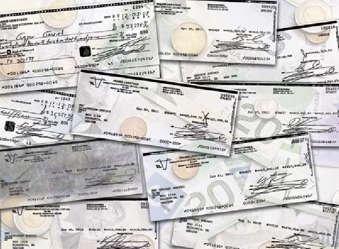 Various cheques Gregor Gmerek is alleged to have forged, in order to steal from his former employer, Prairie Livestock.