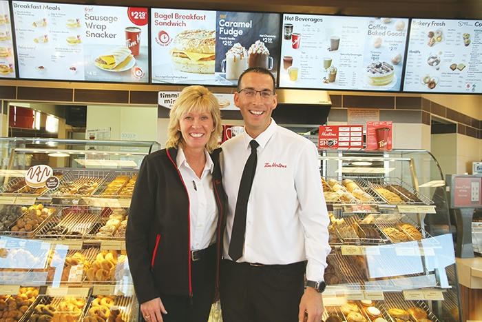 Rhonda Pardy and her nephew Greg Crisanti are the new owners of Moosomin's Tim Hortons.Pardy started the first Tim Hortons in Brandon and now is involved in eight Tim Hortons in Brandon, Western Manitoba, and now Moosomin. Crisanti is a partner in the rural locations in Moosomin, Virden, and Neepawa.