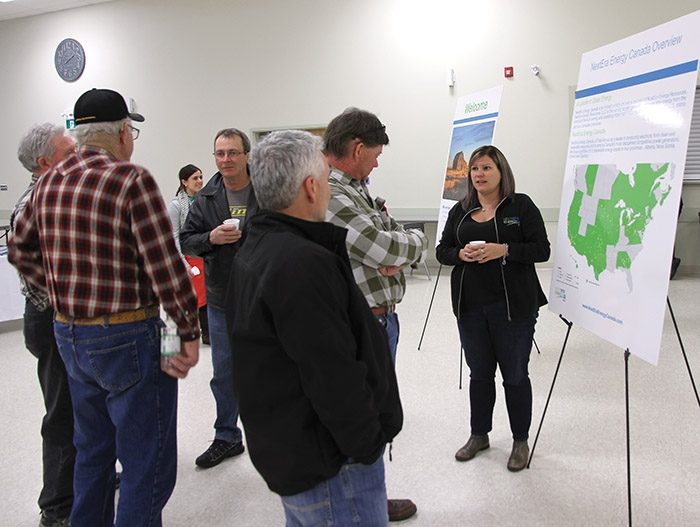 RM of Rocanville residents speak with Next-Era Energy representatives at a public meeting in Rocanville last week.